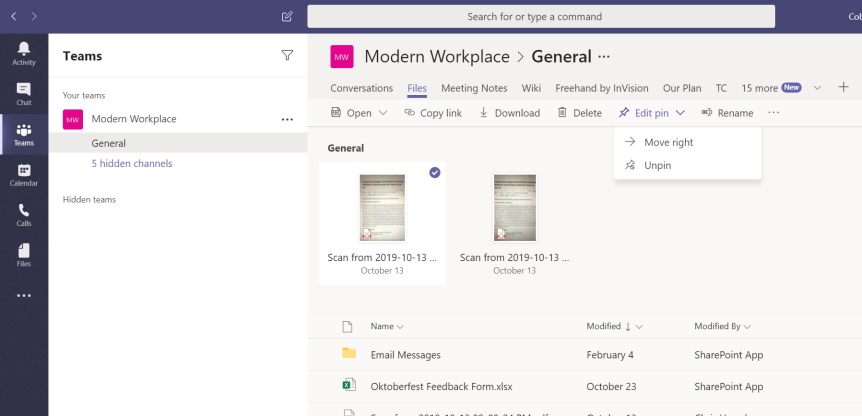 Teams Real Simple with Pictures: New Files Experience – Pinning Team Files